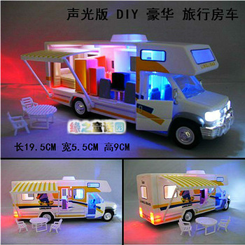 4 acoustooptical alloy car model assembly toy rv travel luxury large bus