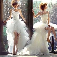 2014 fashion low-high train wedding dress the bride wedding dress formal dress princess quality wedding dress