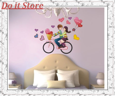 [Do it] Free Shipping Bike Romance Love Singapore HOT Wall Art Stickers ,Removable Wall Decals,100pcs/Lot,50X70 CM(China (Mainland))