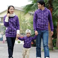 2012 family fashion family pack purple plus velvet thickening print pullover sweatshirt wy-jxp