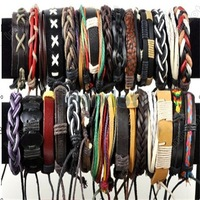 Wholesale lot 24pcs/ Hot sell Free shipping  Personality leather bracelet mixed fashion jewelry