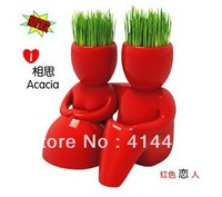4 pcs Garden Decoration Mini DIY Bonsai Red Lovers Magic Grass Planting Plant Hair Man Ceramic Figures