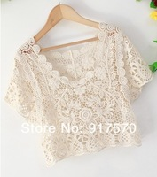 2014 Vintage Handmade T shirts Women Crochet Lace Hollow Tees Tops Knit Outwear Shirt Sexy Sheer Free Shipping W Tracking Number