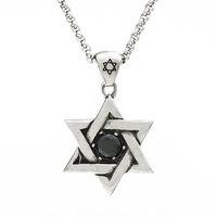 Zircon hexagram hexagonal star male necklace titanium steel pendant fashion male accounterment accessories