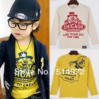 Best Selling!!2pcs/lot Cartoon print CHICAGO kid T-shirt spring baby boys clothing children Primer shirt free shipping