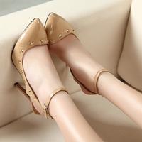10cm japanned leather rivet stiletto single shoes plus size women's shoes beige