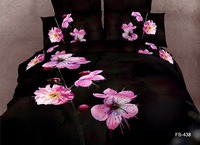 2013 New Beautiful 100% Cotton 4pc Doona Duvet QUILT Cover Set bedding sets Full / Queen/  King size 4pcs black flower AP22