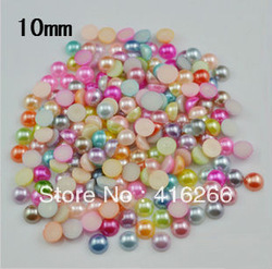 Free Shipping!1000pcs/bag 10mm mixed color pack Half Round Flatback ABS imitation pearl beads(China (Mainland))