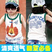 Best Selling!!2013 boys summer lion Print sleeveless T-Shirts Children's vest kids T-shirt free shipping