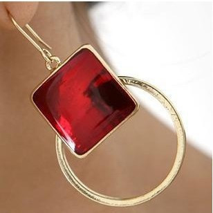 Min. order is $15 (mix order) fashion national trend tassel vintage square gold circle drop earrings
