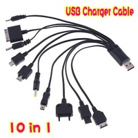 Free Shipping ! 10pcs /lot ! Portable 10 in1 USB Cable Charging+Data For Cell Phone/usb power data cable