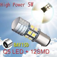 10pcs 1157 BAY15D P21/5W High Power Q5 LED + 12 SMD 5050 Pure White Tail Car 5W Light Bulb Lamp Parking Car Light Source
