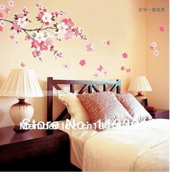 HOT Sale!!! Beautiful Sakura Fashion Room Wall Sticker Vinyl Decal Decor Wallpaper Removable + Free Shipping(China (Mainland))