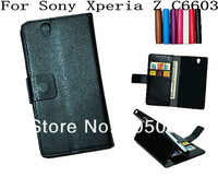 Free Shipping 7 colors  For Sony Xperia Z Yuga C6603 Lichee Stand Leather Case with Wallet Credit Card Holder  10pcs