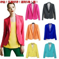 hot sale summer dress 2013zara women&#39;s slim blazer fashion outerwear candy color one button suit wholesale
