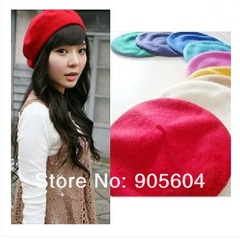 Fashion 100% Wool Warm Women Felt French Beret Beanie Hat Cap Tam Hot 9 colors(China (Mainland))