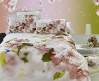 2013 new Beautiful 100% Cotton 4pc Doona Duvet QUILT Cover Set bedding set Full / Queen/  King size 4pcs pink peach nice  flower