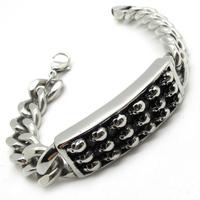 Europre Style Mens Boys Cool Silver 18 Skulls PUNK Motor Bicycle Chain Biker Bracelet Bangle Guarantee 100%