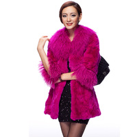 Long Rabbit Fur coat jacket suit garment shawl gilet with raccoon collar