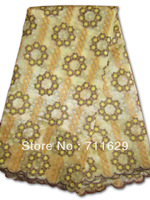 yellow and beige color french lace made of double organza material swiss  voile lace high quality lowest price