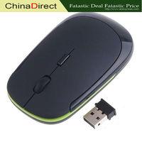 Ultra-Slim Mini 2.4G USB Wireless Optical Mouse for For PC Laptop Black Color 1600 DPI  10 pcs/lot Free Shipping Wholesale