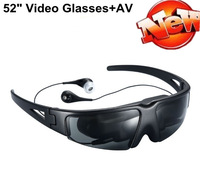 New portable 52 inch LCD digital mobile theatre MP4 video sunglasses eyewear with AV-in free shipping