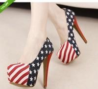 14cm Sexy Party Pumps Shoes American Flag Stiletto platform High Heels#111