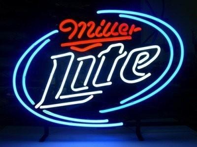 miller lite logo v1 pub store handcrafted real glass tube neon light. Black Bedroom Furniture Sets. Home Design Ideas