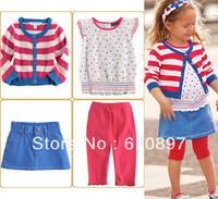 2013 Wholesale 4-pcs cotton baby clothes suit kids clothing set (coat +leggings+T shirt+short dress),5 set/lot,Free Shipping