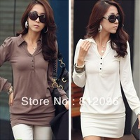 2013 new Brand designer Promotions hot trendy cozy fashion women clothes casual sexy dressFashion solid color lapel Slim Dress