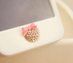 MINI ORDER USD10(mixed) Free shipping Home Button bow rinestones sticker diy mobile phone decoration for IPONE 5 iPad iTouch(China (Mainland))