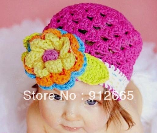 5pcs/lot 100% handmade baby crochet caps children hand knitted beanie hats with flower girl spring hats(China (Mainland))