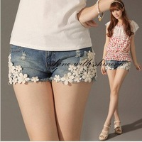 2013 Free shipping  Denim Shorts Pearl Lace Flowers Rivet Hollow Out ,woman jeans short pants for summer