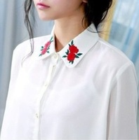 2013 Popular Western Style Unique Embroiderry Rose Turn-down collar Chiffon Blouses , Fashion Ladies' Full Sleeve Shirt