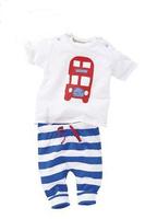 16030243   Children's clothing set  Kid's  Suit  Short-sleeved Cartoon Car T-Shirt + Long Striped Pants  2piece