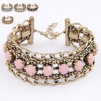 Min Order $10(Mix Items)2013 New!Fashion Euro Vintage Bronze Chain Black White Pink Blue Yellow Resin Summer Bracelet Wholesale