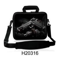 17.3' 17.4'Cool Gun Neoprene Laptop Sleeve Shoulder Bag Notebook Carrying Pouch