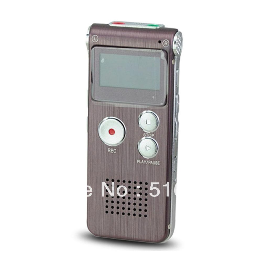 Wiederaufladbare stahl 4gb digitales diktiergerät 650hr Diktiergerät mp3-player gh-609 Diktiergerät mp3-player braun