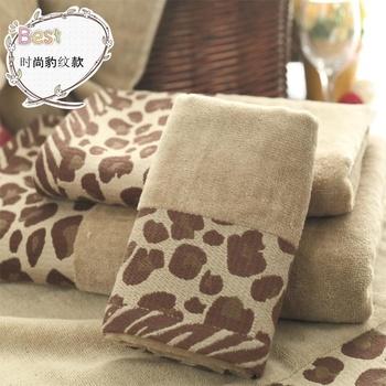 5piece set towel set 100% Cotton terry  fashion leopard print series 28*46cm hand towels set  face towels