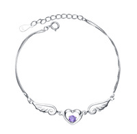 Wholesale & Retail for 100% Genuine 925 Sterling Silver Fashion Amethyst Bracelet with Platinum Finish, Top Quality!! (D0025)