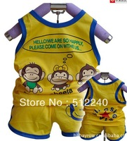 Fress shipping 4 pieces/2012 children's clothing vest suit wholesale monkey vest