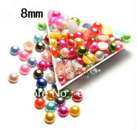 Free shipping 2000pcs/lot 8mm mixed color pack half round flatback imitation pearl beads for DIY