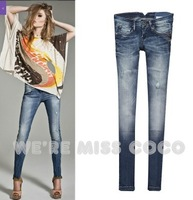 2013 Fashion New Style Ripped Hanging Chain Blue Skinny Low Waist Jeans for Ladies Women