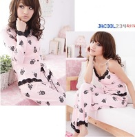 FREE SHIPPING,Summer female pajamas ,pajama set for Women /Lady,homewear,Flower,2 styles(thin and thick),drop shipping
