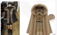 Luxury Woman's Mink Fur Collar Cape Hooded Poncho Cloak Outwear Jacket Coat S-L
