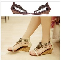 2012 Hot Women Bead T-strap Zipped Wedge Thong Sandals Shoes#779