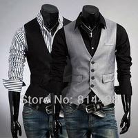 2013 Free shipping hot sale High quality fashion boutique vest Slim dark gray vest men's casual vest spring men's wear
