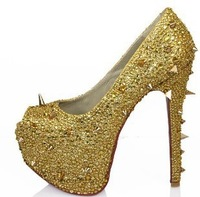 nice rhinestonse and  rivets,16cm high heels shoes,sandal,pumps,big size, us 4 to 14 ( eur 35 to 46), party shoe,free shipping!