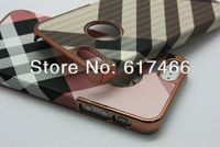 free shipping ,wholesale 10pcs/lot Luxury Stripes + copper color Gold Grid Chrome Leather Hard Back Cover Case For iPhone 5 5G
