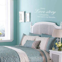 Free shipping,Every Love Story is Beautiful, For Home,mural wallpaper, Wall Decal, 57* 120CM